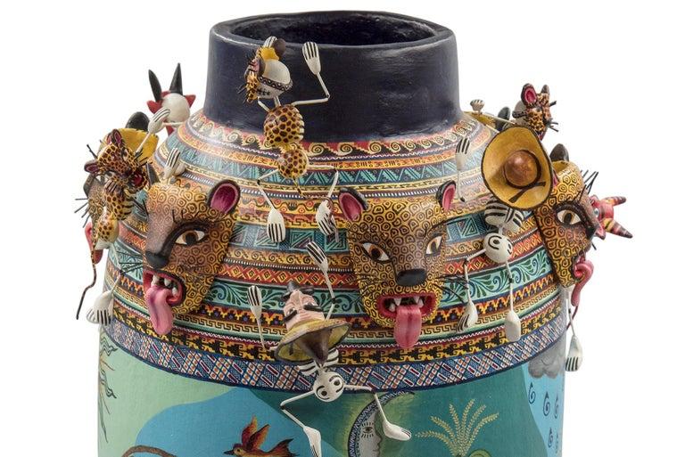Clay Mexican Colorful Folk Art Ceramic Vase Tecuanes Dance Vessel For Sale