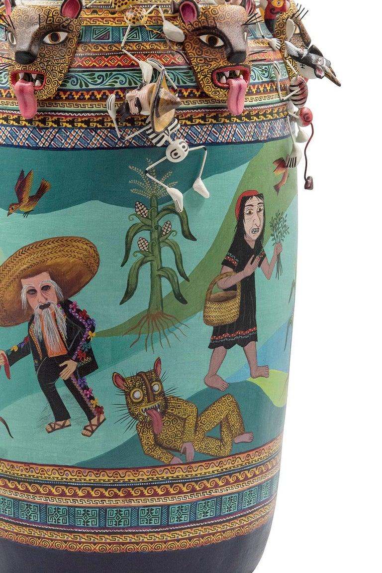 Mexican Colorful Folk Art Ceramic Vase Tecuanes Dance Vessel For Sale 1