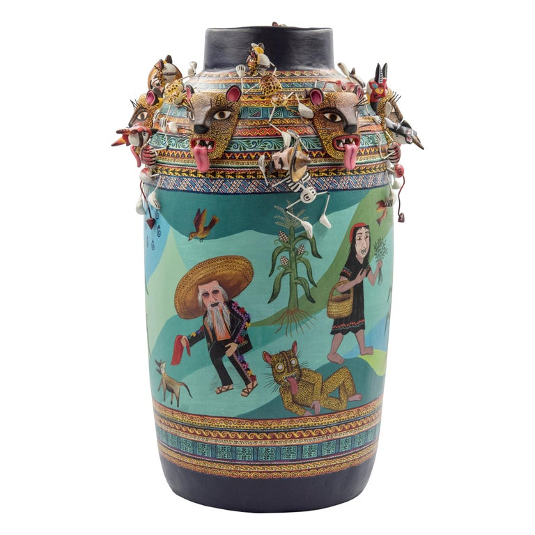 Mexican Colorful Folk Art Ceramic Vase Tecuanes Dance Vessel For Sale