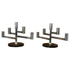 Mexican Designer, Candelabras, Chromed Steel, Lacquered Tin-Plate, Wood, 1940s