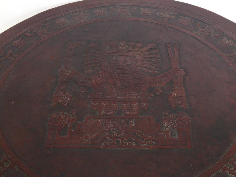 Mexican Embossed Leather Coffee Table In Distressed Condition For Sale In Atlanta, GA