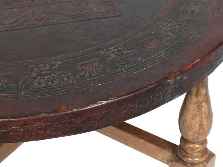 Mid-20th Century Mexican Embossed Leather Coffee Table For Sale