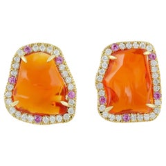 Mexican Fire Opal 18 Karat Gold Diamond Stud Earrings