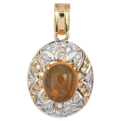 Mexican Fire Opal Diamond Pendant 14 Karat Yellow Gold Small Oval Jewelry