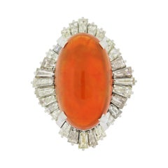 Mexican Fire Opal Diamond Platinum Cocktail Ring