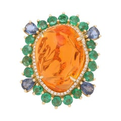 Mexican Fire Opal Emerald Sapphire Diamond Gold Ring
