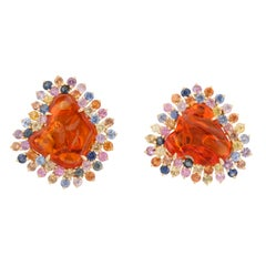 Mexican Fire Opal Multi-Color Sapphire Gold Earclips