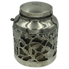 Mexican Floral Overlay Sterling Silver Stout Jar with Spoon Holder
