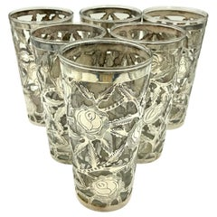 Mexican Floral Sterling Silver Overlay Tall Tumbler Lemonade Glasses Set of 6