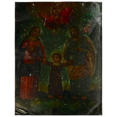 Mexican Folk Art Retablo on Metal of the Holy Family, 19th Century