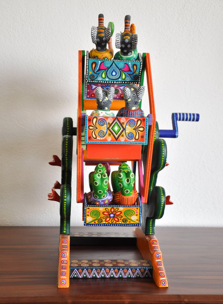 Mexican Folk Art Woodcarving Alebrije Fortune Wheel Folkloric Art Oaxaca Toy  For Sale 5
