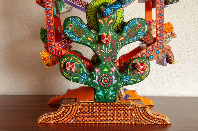 Carved Mexican Folk Art Woodcarving Alebrije Fortune Wheel Folkloric Art Oaxaca Toy  For Sale