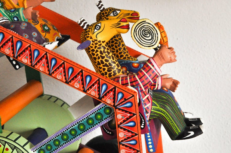 Contemporary Mexican Folk Art Woodcarving Alebrije Fortune Wheel Folkloric Art Oaxaca Toy  For Sale