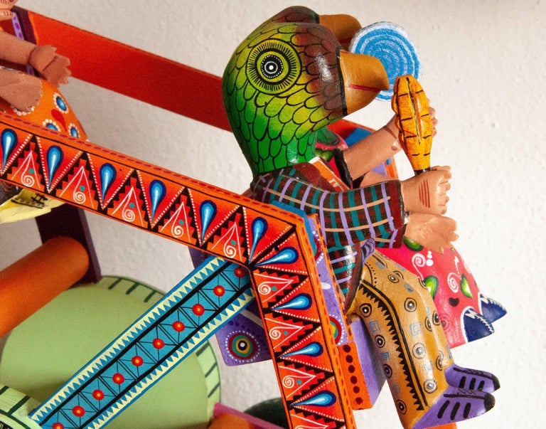 Mexican Folk Art Woodcarving Alebrije Fortune Wheel Folkloric Art Oaxaca Toy  For Sale 1