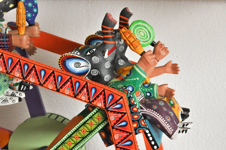 Mexican Folk Art Woodcarving Alebrije Fortune Wheel Folkloric Art Oaxaca Toy  For Sale 2