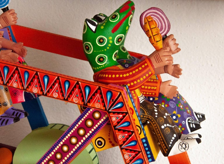 Mexican Folk Art Woodcarving Alebrije Fortune Wheel Folkloric Art Oaxaca Toy  For Sale 3