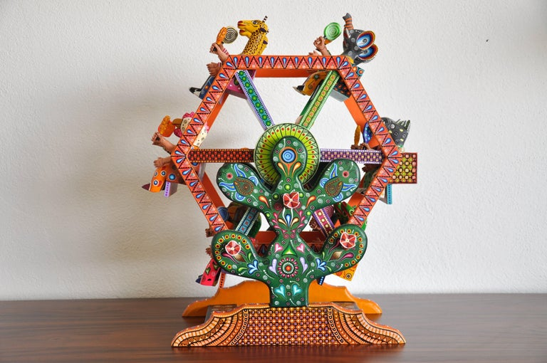 Mexican Folk Art Woodcarving Alebrije Fortune Wheel Folkloric Art Oaxaca Toy  For Sale 4