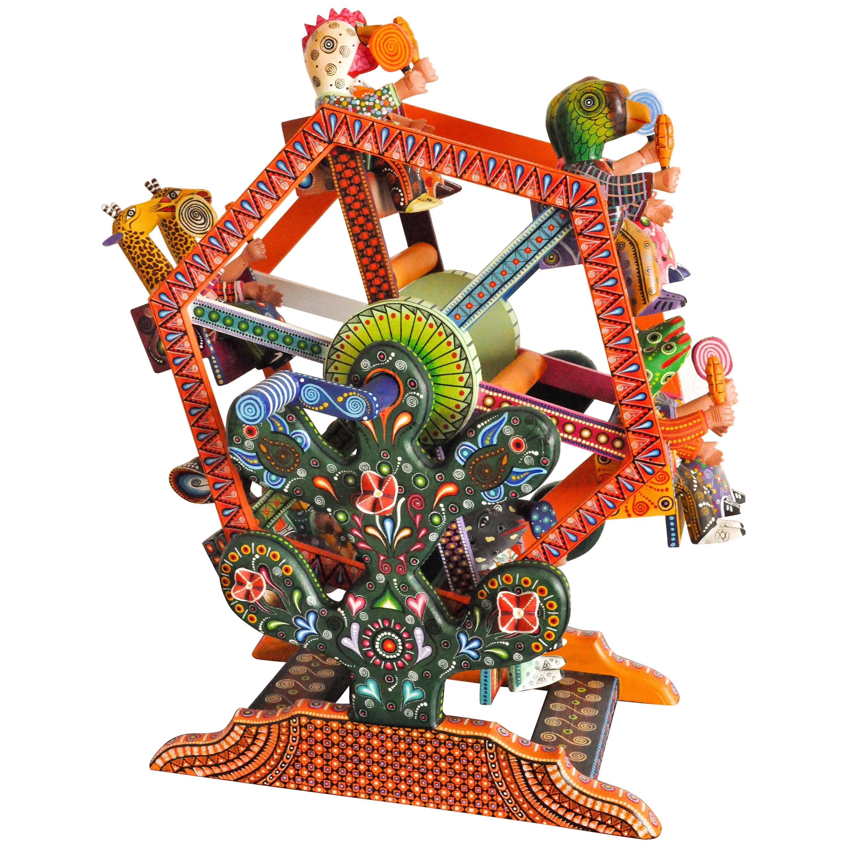 Mexican Folk Art Woodcarving Alebrije Fortune Wheel Folkloric Art Oaxaca Toy