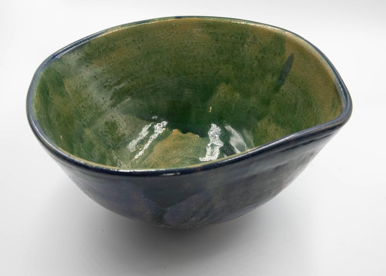 Mexican Fruit Bowl Ceramic Clay Lead Free Blue Green