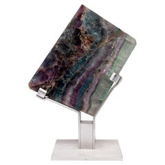 Mexican Green, White and Purple Shade Fluorite on Aluminum Base
