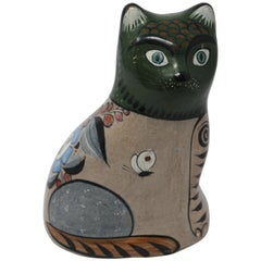 Mexican Hand Painted Colorful Pottery Cat