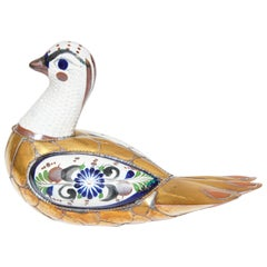 Mexican Hand Painted Colorful Tonala Pottery Bird