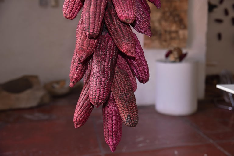 Mexican Hanging Ceramic Fucsia Corn Clay Decorative Rustic Piece Contemporary In New Condition For Sale In Queretaro, Queretaro