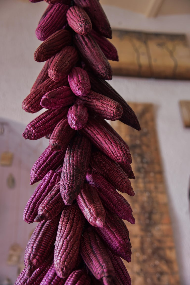 Mexican Hanging Ceramic Fucsia Corn Clay Decorative Rustic Piece Contemporary For Sale 3