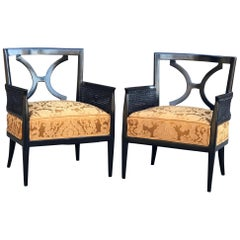 Regency Elegance Studio Arm Chairs in Black Mahogany Cane & Gold Silk Brocade