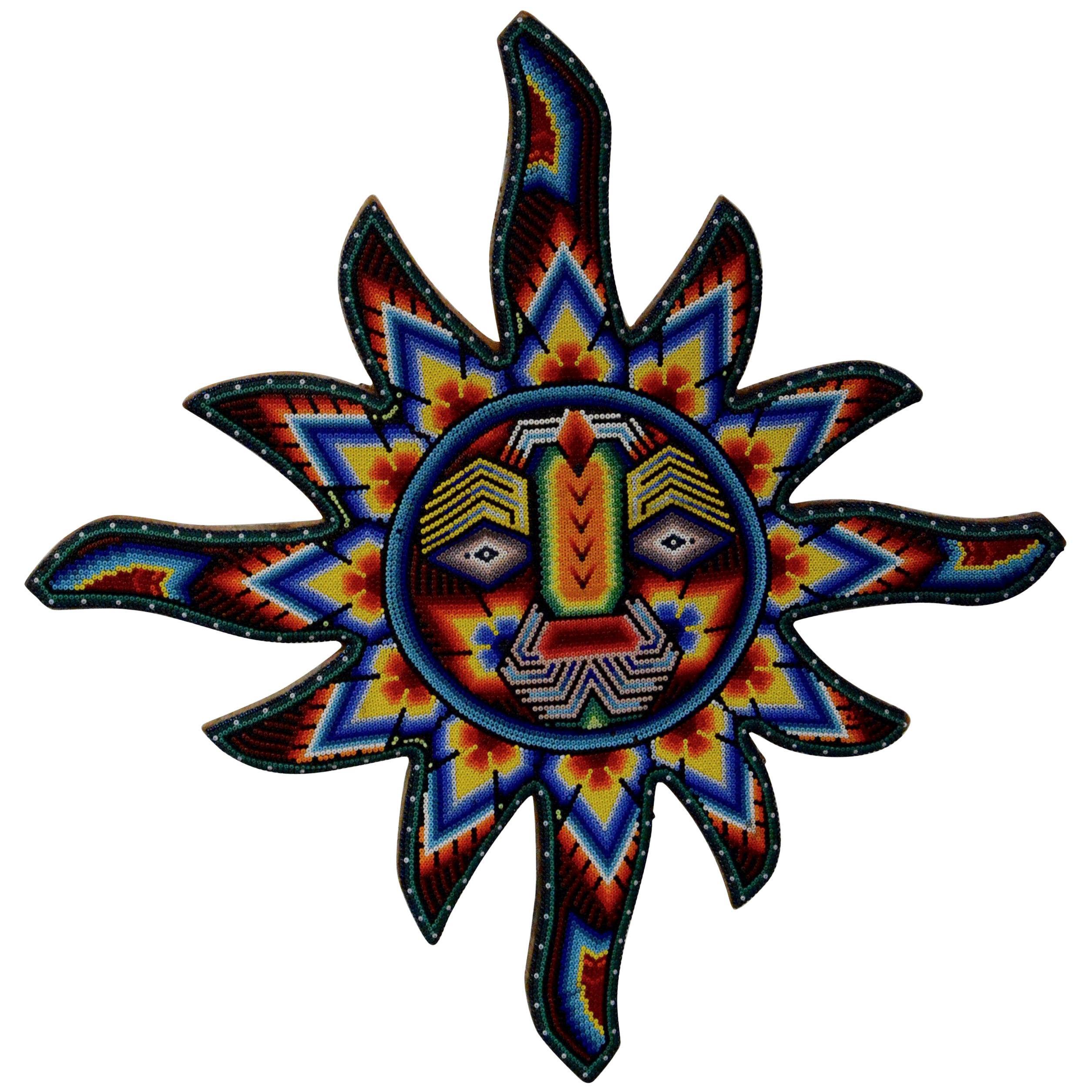 Mexican Huichol Hand Beaded Sun Wall Decor