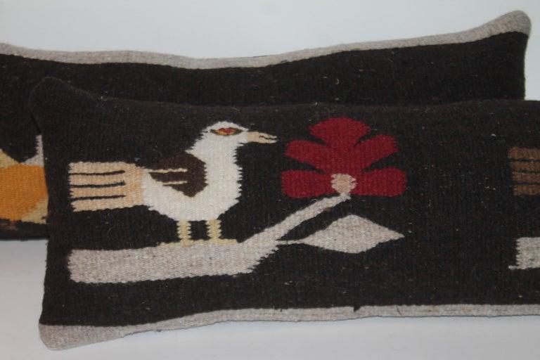 Adirondack Mexican / Indian Bird Weaving Pillows, 2 For Sale