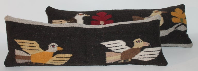American Mexican / Indian Bird Weaving Pillows, 2 For Sale