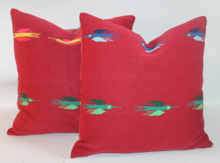Hand-Crafted Mexican Indian Weaving Pillows, Pair For Sale