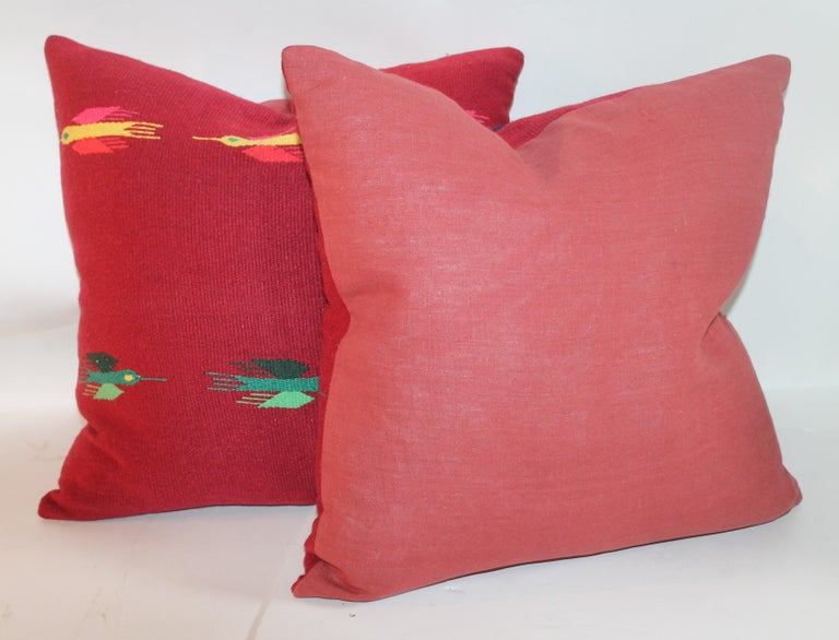 20th Century Mexican Indian Weaving Pillows, Pair For Sale