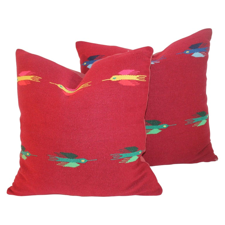 Mexican Indian Weaving Pillows, Pair For Sale