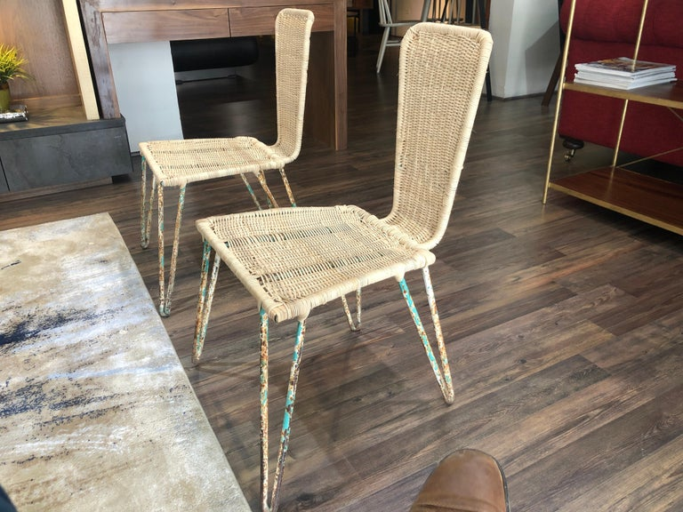 Mid-Century Modern Mexican Iron and Caned Chair For Sale