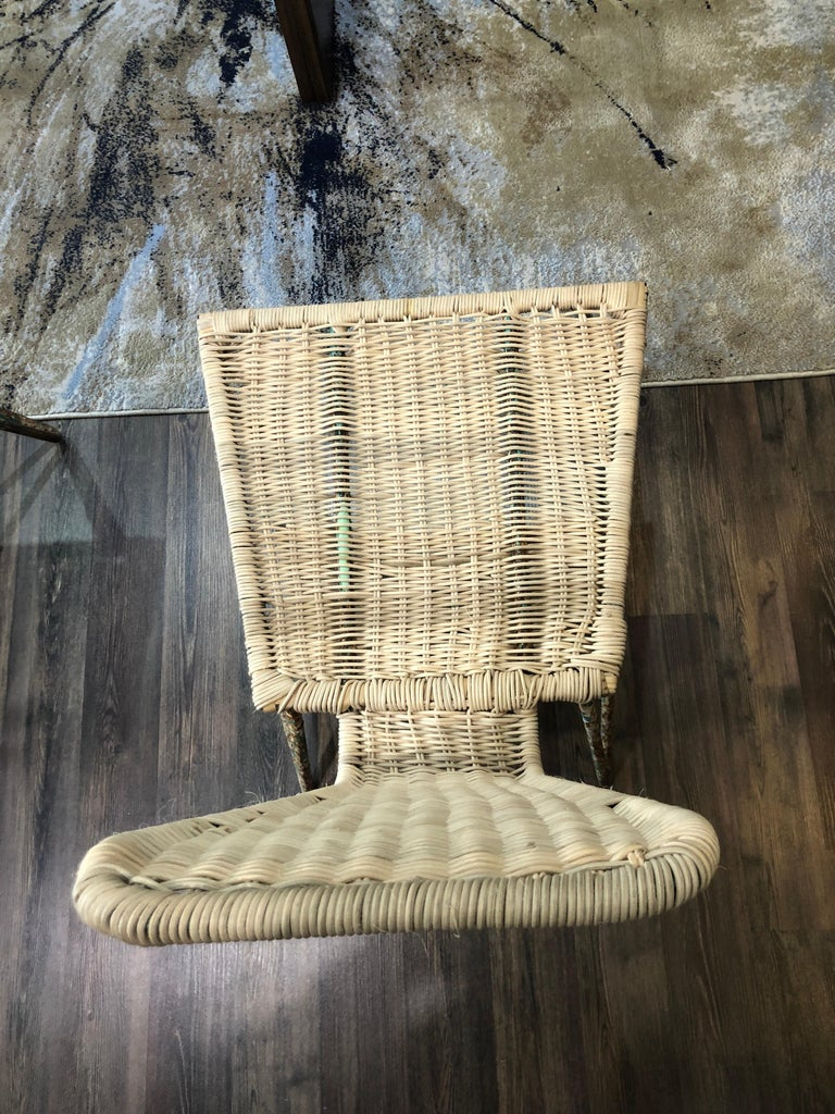 Hand-Crafted Mexican Iron and Caned Chair For Sale