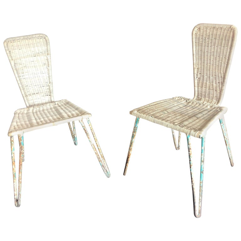 Mexican Iron and Caned Chair For Sale