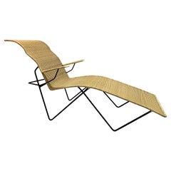 Mexican Iron and Rattan Chaise Longue
