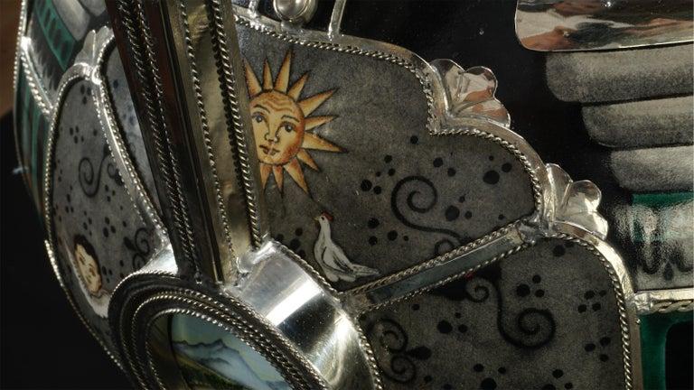 Mexican Jar, Ceramic and White Metal 'Alpaca', Handmade For Sale 7