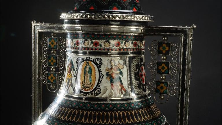 Mexican Jar, Ceramic and White Metal 'Alpaca', Handmade For Sale 9