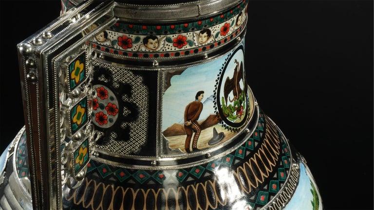 Mexican Jar, Ceramic and White Metal 'Alpaca', Handmade For Sale 11