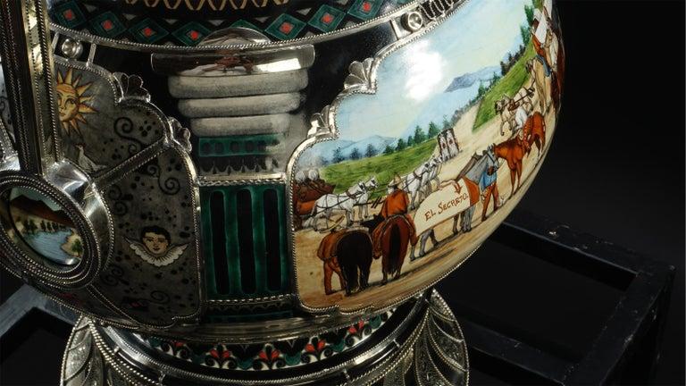 Mexican Jar, Ceramic and White Metal 'Alpaca', Handmade For Sale 12