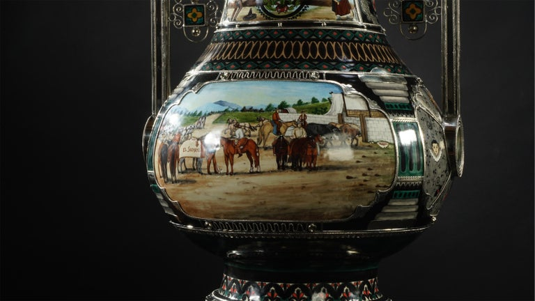 Mexican Jar, Ceramic and White Metal 'Alpaca', Handmade In New Condition For Sale In Guadalajara, Jalisco