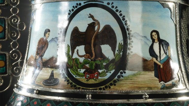 Mexican Jar, Ceramic and White Metal 'Alpaca', Handmade For Sale 1