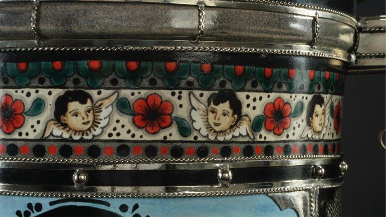 Mexican Jar, Ceramic and White Metal 'Alpaca', Handmade For Sale 2
