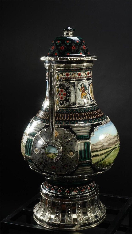 Mexican Jar, Ceramic and White Metal 'Alpaca', Handmade For Sale 4