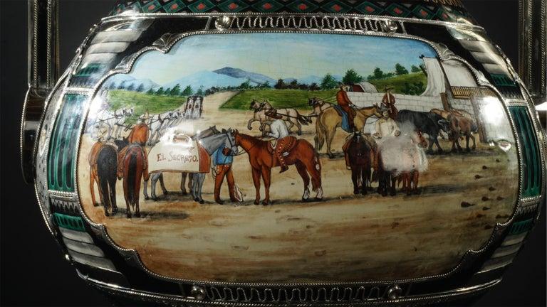 Mexican Jar, Ceramic and White Metal 'Alpaca', Handmade For Sale 6