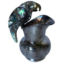 Mexican Los Castillo Parrot Silver and Abalone Creamer