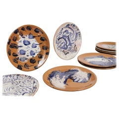 Mexican Majolica Ceramic Plate Set Handmade Mid-Century Modern Clay Blue White